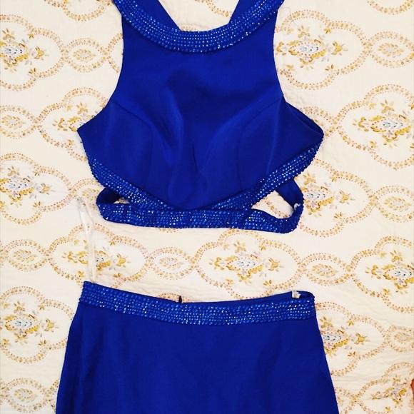 Size zero Royal Blue two,piece Prom dress